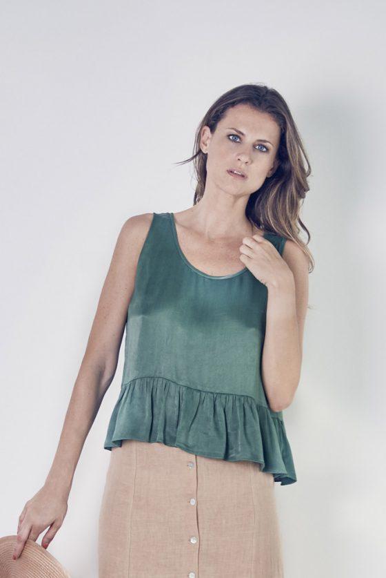 top-verde-falda-lino-1